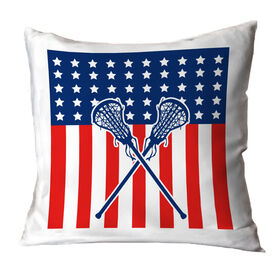 Girls Lacrosse Throw Pillow USA Lax Girl