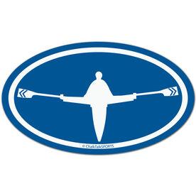 Crew Boat Oval Car Magnet (Blue)