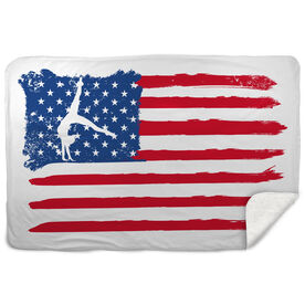 Gymnastics Sherpa Fleece Blanket American Flag