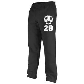 Soccer Fleece Sweatpants Soccer Ball with Number