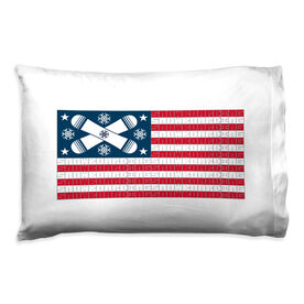 Snowboarding Pillowcase - American Flag Words