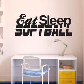 Eat Sleep Softball Removable ChalkTalkGraphix Wall Decal