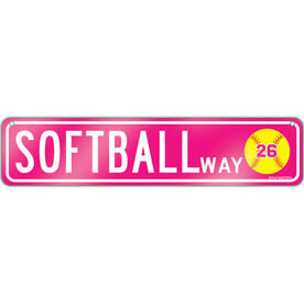 "Softball Aluminum Room Sign Personalized Softball Way (4""x18"")"