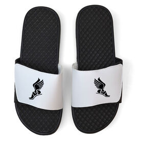Track & Field White Slide Sandals - Winged Foot