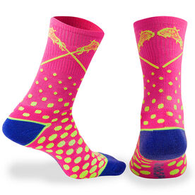 Girls Lacrosse Woven Mid Calf Socks - Malibu (Pink/Yellow/Blue)