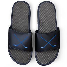 Hockey Navy Slide Sandals - Hockey Crossed Sticks