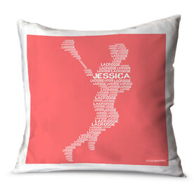 Girls Lacrosse Throw Pillow Personalized Lacrosse Words Girl
