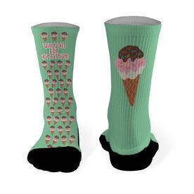Running Printed Mid Calf Socks Will Run For Ice Cream (Ice Cream Cone Pattern)