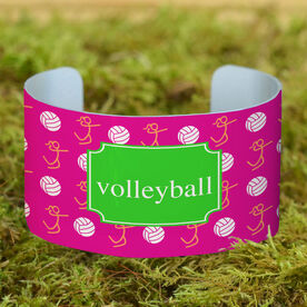 Volleyball Cuff Bracelet (Wide) Volleyball Girl Stick Figure With Ball