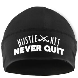 Beanie Performance Hat - Hustle Hit Never Quit with Field Hockey Sticks