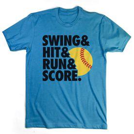 Softball T-Shirt Short Sleeve Swing & Hit & Run & Score