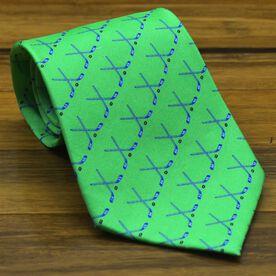 Hockey Sticks Silk Tie (Green)