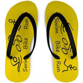 Triathlon Flip Flops Swim Bike Run Stick Figures on Yellow