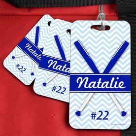 Softball Bag/Luggage Tag Personalized Softball Crossed Bats Chevron