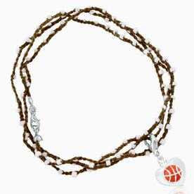 Basketball Beaded Wrap Bracelet with Basketball in Heart Charm