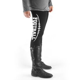 Football High Print Leggings Football Stitches with Football