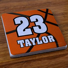Basketball Stone Coaster Personalized Big Number with Basketball