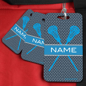 Lacrosse Bag/Luggage Tag Personalized Guys Crossed Sticks Pattern