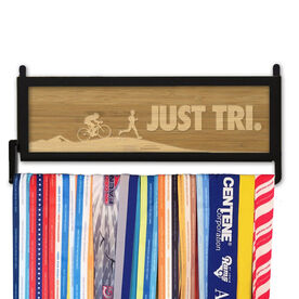 TriathletesWALL Engraved Bamboo Medal Display Just Tri