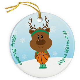Basketball Porcelain Ornament Reindeer Baller
