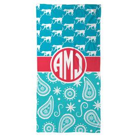 Girls Lacrosse Beach Towel LuLa Paisley with Monogram