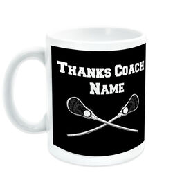 Guys Lacrosse Ceramic Mug Thanks Coach Crossed Sticks