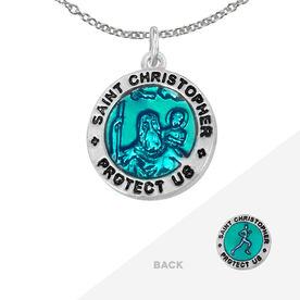 Runners St. Christopher Necklace - Blue (1.5cm)