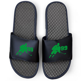 Hockey Navy Slide Sandals - Hockey Rink Turn with Number