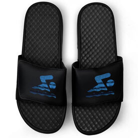 Swimming Black Slide Sandals - Swim Icon