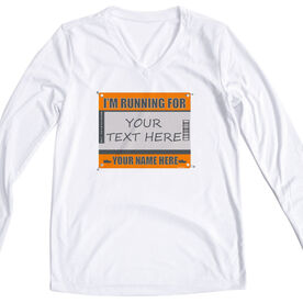 Women's Customized White Long Sleeve Tech Tee I'm Running For - Bib
