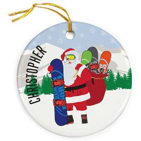 Snowboarding Porcelain Ornament Santa