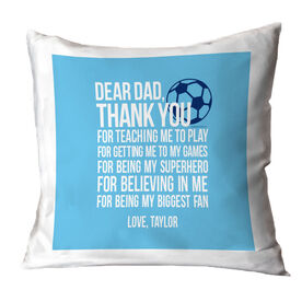 Soccer Throw Pillow Dear Dad