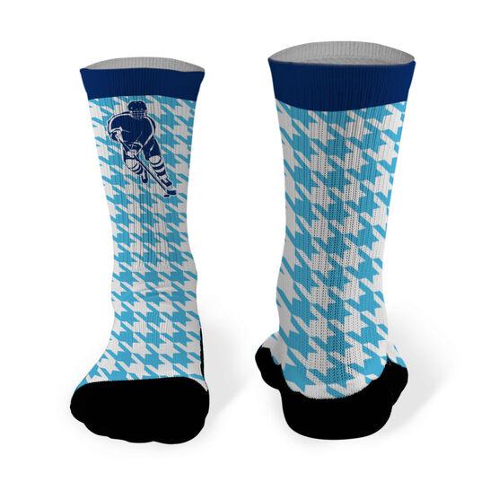 Hockey Printed Mid Calf Socks Hockey Silhouette with Houndstooth Pattern