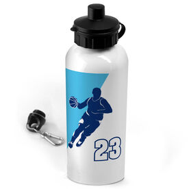Basketball 20 oz. Stainless Steel Water Bottle Personalized Basketball Guy with Big Number