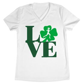 Women's Customized White Short Sleeve Tech Tee Runners Love with Clover