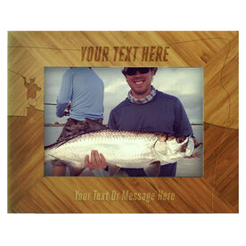 Fly Fishing Bamboo Engraved Picture Frame Your Text