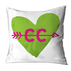 Cross Country Throw Pillow Watercolor Heart Arrow