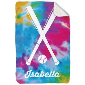 Softball Sherpa Fleece Blanket Personalized Tie Dye Pattern with Bats