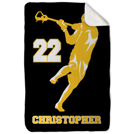 Guys Lacrosse Sherpa Fleece Blanket Personalized Jump Shot Silhouette