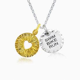 Livia Collection Sterling Silver and 14K Gold Vermeil Swim Bike Run Triumph Necklace