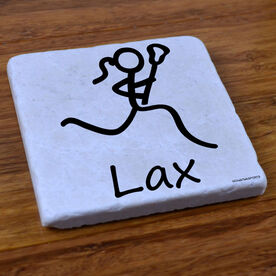Lacrosse Girl (Stick Figure) - Natural Stone Coaster