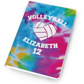 Volleyball Notebook Tie Dye Pattern with Heart