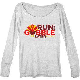 Women's Runner Scoop Neck Long Sleeve Tee Run Now Gobble Later