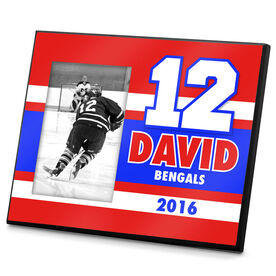 Hockey Personalized Photo Frame Big Number Hockey Team Colors