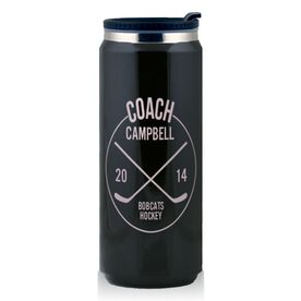 Stainless Steel Travel Mug Personalized Hockey Coach Circle