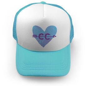Cross Country Trucker Hat Watercolor Heart Arrow