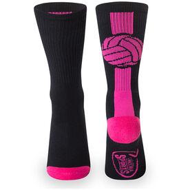 Volleyball Woven Mid Calf Socks - Superelite (Black/Pink/Fuchsia)