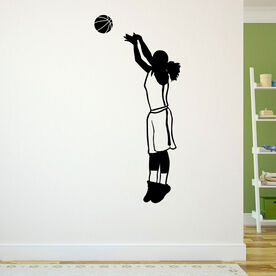 Basketball Girl Silhouette Removable ChalkTalkGraphix Wall Decal