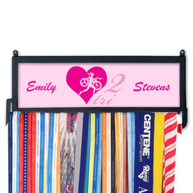TriathletesWALL Personalized Heart 2 Tri Medal Display