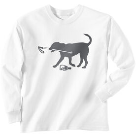 Skiing Long Sleeve T-Shirt - Sven The Ski Dog